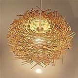 Malovecf Plafonnier LED Structure en nid d'oiseau tressé en rotin à la main, en bois, 300x 170mm