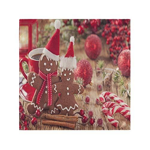 JIUCHUAN Abendessen Servietten Stoff Waschbare Weihnachten Lebkuchen Mann und rote Glocken Polyester Servietten 20 x 20 Zoll für Familienessen, Hochzeiten, Cocktail, Küche Geschirr Dekoration