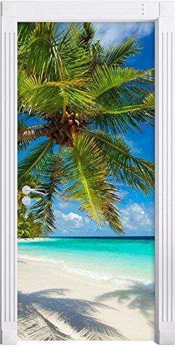 Stil.Zeit Möbel Palmenstrand als Türtapete, Format: 200x90cm, Türbild, Türaufkleber, Tür Deko, Türsticker