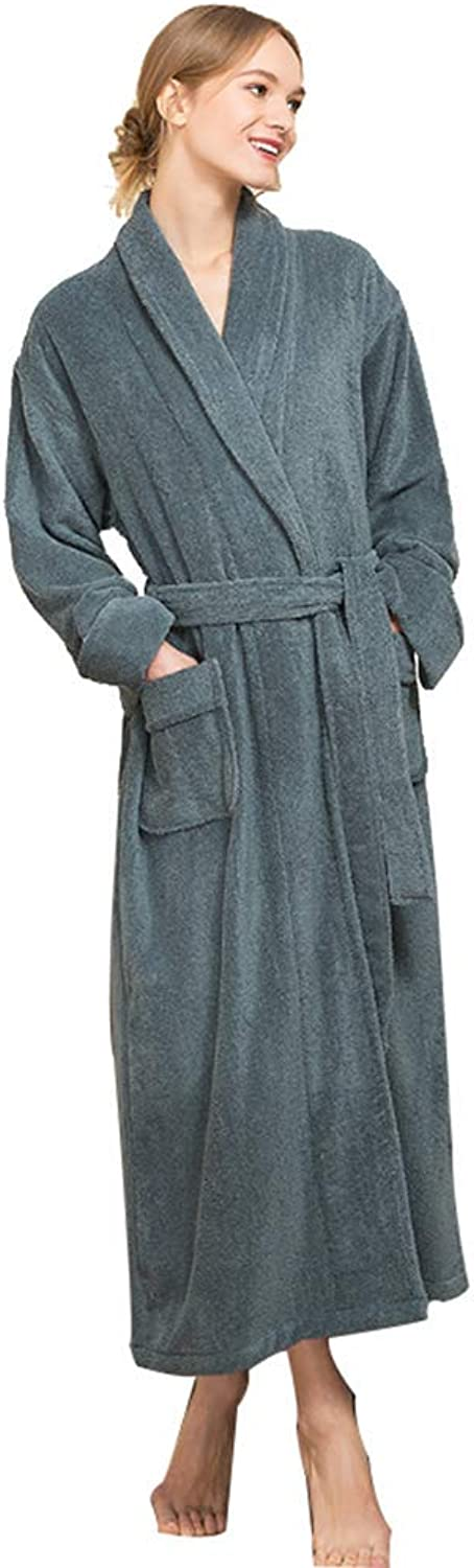 Extra Long Bathrobe, Unisex Couple Cotton Absorbent Terry Towelling, Hotel Thickening Dressing Gown with Pockets and Belt