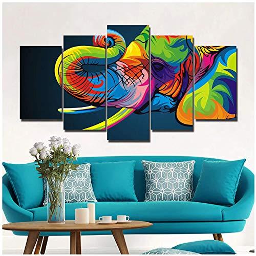 Lienzo Carteles impresos en HD Imágenes de animales de elefante colorido para la sala de estar Decoración del hogar Arte de la pared -30x40 30x60 30x80cmx1 Sin marco
