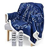 Religious Throw Blanket - Soft Sherpa with Christian Theme, Bible Verse, Inspirational Thoughts of Heaven, Prayer, Scripture, Healing - Reversible, 60in x 50in, Set Comes with Fleece Socks (Navy)