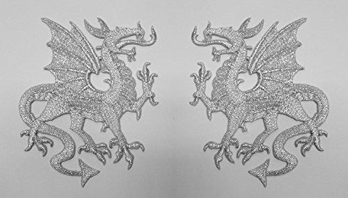 1 Paar Applikationen Wappen Drachen 12,6 x 8cm Farbe: Lurex-Silber präsentiert von 1A-Kurzwaren vor179-2