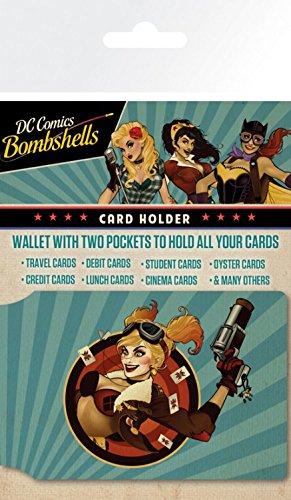 1art1 Harley Quinn, Bombshells, DC Comics Tarjeteros para Tarjetas De Crédito (10x7 cm) Y 1x Pegatina Sorpresa