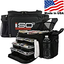 Meal Prep Lunch Box ISOBAG - Large Insulated 6 Meal Prep Bag/Cooler With 12 Containers, 3 Ice Packs & Shoulder Strap (Black/Black) - MADE IN USA