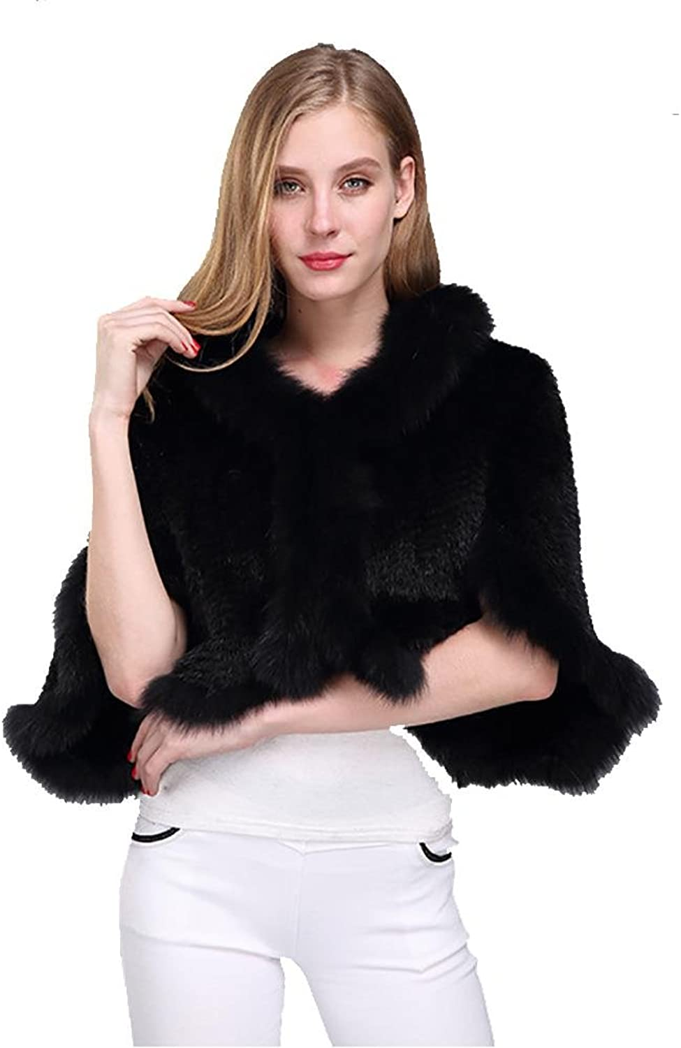 SALY Women's Real Mink Fur Cape Cloak Poncho Shawl