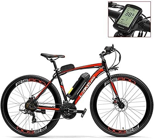700C Pedal Assist Bici Elettrica 36V 20Ah Batteria 300W Motore Lega di Alluminio Telaio A Forma di Profilo Alare Entrambi I Freni A Disco - Bicicletta da Strada 20-35Km/H (Color : Redled, Size : Stan