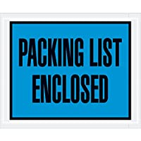 Aviditi PL403 Poly Envelope, Legend PACKING LIST ENCLOSED, 4-1/2 Length x 5-1/2 Width, 2 mil Thick, Blue/Black on White (Case of 1000) by Aviditi