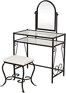 Knocbel Metal Vanity Makeup Table Set Tempered Glass Tabletop with Rotatable Mirror & Cushioned Stool Chair Make Up Dressing Table (Black Simple)