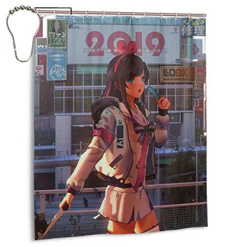 CANMA Anime Girls Kizuna Ai Duschvorhänge Wasserdichter Bad Duschvorhang Set mit Haken Heavy Duty Stoff Badvorhang