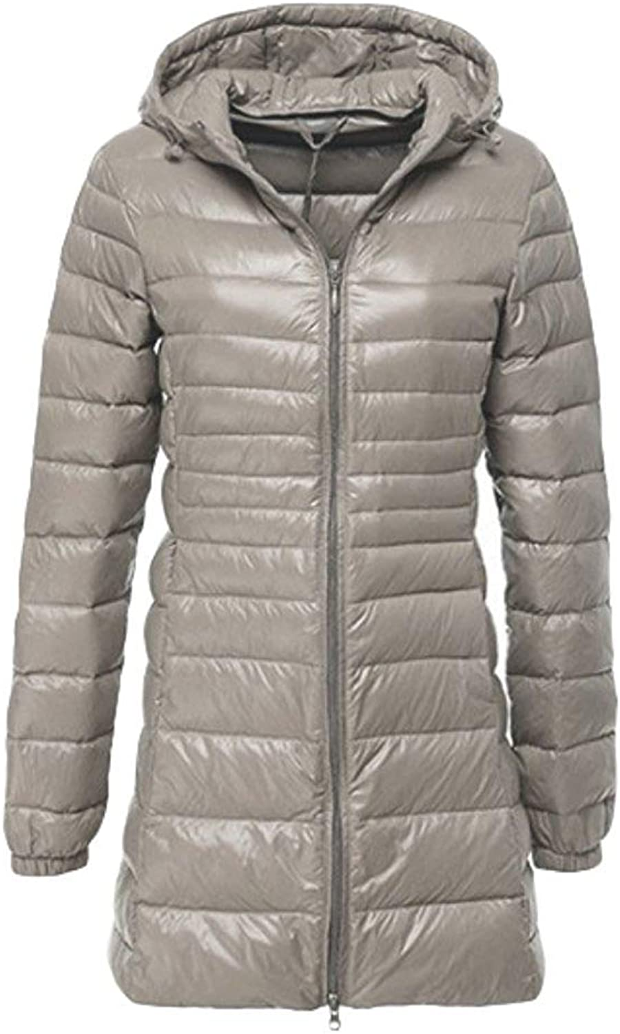 Oudan Women's Down Jacket Quilted Jacket Ultra Lightweight Hooded Jacket Long Down Coat SXXL (color   Light Grey, Size   XXL)