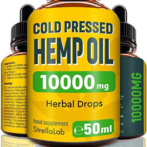 Hemp Oil Drops - 50ml - 10000mg Highest Strength Hemp - Made in UK - Premium Grade