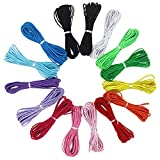 EuTengHao Cuerda elástica de nailon de 2 mm para pulsera de nailon satinado, cuerda decorativa de nailon para tejer a mano, cuerda de hilo de hilo para collar y pulsera (15 colores, 165 yardas)