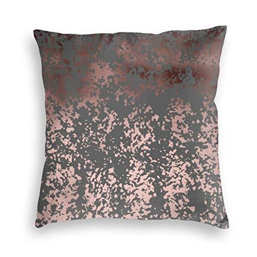 Elegantes fundas de cojín de terciopelo rosa dorado y gris, para sofá, dormitorio, coche, con cremallera invisible de 45,7 x 45,7 cm
