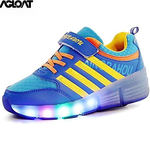 BGHKFF Chaussures Rollers pour Filles LED Lumières Clignotant Couleur Changeant Chaussures Roller Chaussures De Skateboard Baskets,Blue-41EU