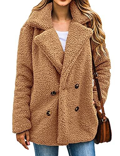 Boni Caro Women's Lined Teddy Bear Fleece Jacket Warm Fuzzy Winter Button Up Casual Coat – Top Fashion Oversize Long Sleeve Shaggy Outwear Faux Cardigan with Pockets (Camel, M-L)