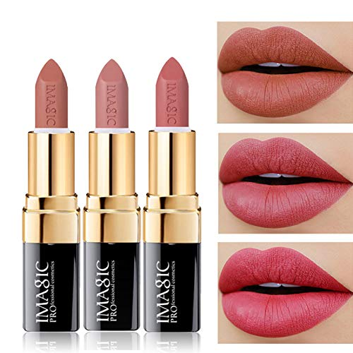 of makeup lipsticks CCbeauty 3pcs Moisturizing & Matte Makeup Lipsticks Set Matte Lipstick Long Lasting,Soft Nudes Velvet Lip Sets
