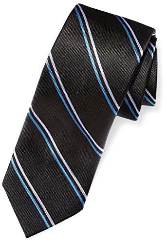 BUTTONED DOWN Men's Classic Silk 3' Necktie, black/light blue thin Stripe (Contrast Tail: Dots),...