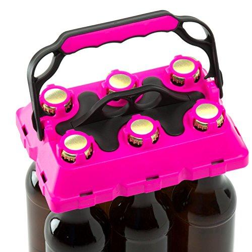 CLICK-IT BOB The Bottle Buddy Flaschenträger I Trage-Hilfe für bis zu 6 Bier-Flaschen I cooles & praktisches Gadget für Deine Party - für 0,33 l Glas-Flaschen I Bottle Carrier (pink/schwarz)