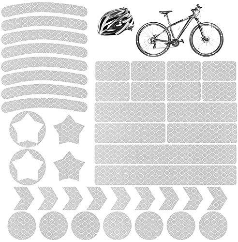 Vegena Reflektoren Aufkleber Sticker 42 Stück, Reflexfolie Set Selbstklebend Hochreflektierend, Reflektoren Aufkleber Set für Kinderwagen, Fahrrädern, Motorräder, Helmen