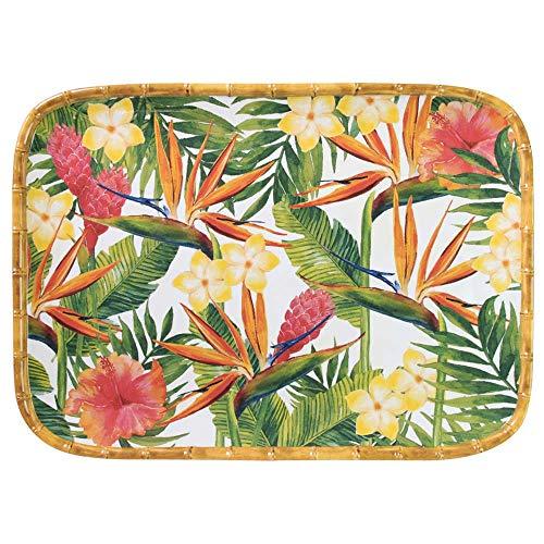 Les Jardins de la Comtesse - Bandeja rectangular de melamina pura Flores Exóticas - 45 x 32cm - Rojo y verde - Gran bandeja de presentación en las esquinas redondeadas - Vajilla irrompible Melartmine