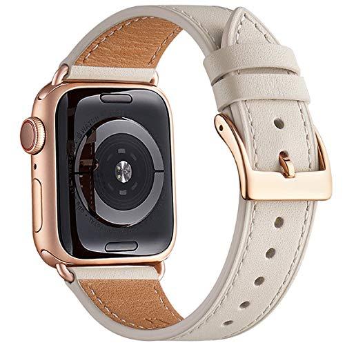 QAZNZ Cinturino Compatibile per Apple Watch 40mm 38mm 44mm 42mm, Cinturino in Vera Pelle di Ricambio per iWatch Series SE 6 5 4 3 2 1 (38mm 40mm, Bianco Avorio/Oro Rosa)