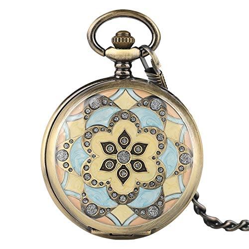 XY&DQ XY&DQ Taschenuhr Mechanische taschenuhren kristall anhänger für Frauen Dame mädchen Geschenke handaufzug Krankenschwester Uhr hübsche Blume Fall mit fob Kette
