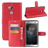 Lapinette Funda de Piel Compatible con Sony Xperia XA2 Ultra - Carcasa con Tapa Libro Tipo Folio - Funda de Piel Sintética Sony Xperia XA2 Ultra Tapa y Cartera - Cierre Magnético Rojo