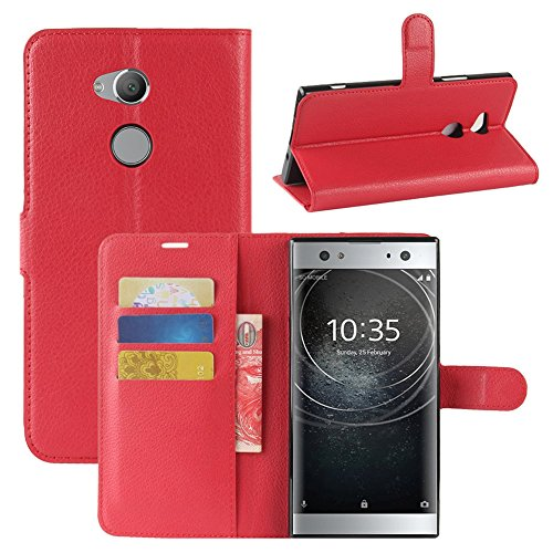 Lapinette Hülle Kompatibel mit Sony Xperia XA2 Ultra - Schutzhülle Klappbar Stoßfeste Folio - Lederhülle Sony Xperia XA2 Ultra - Wallet Kartenfächer Standfunktion Magnet Rot