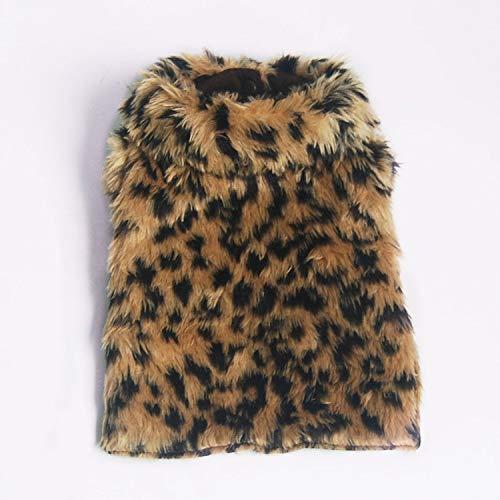 JIUI Hond Warme Jassen Comfortabele warme zachte luipaard mantel kat teddy herfst en winter nieuw, L, Leopard cloak