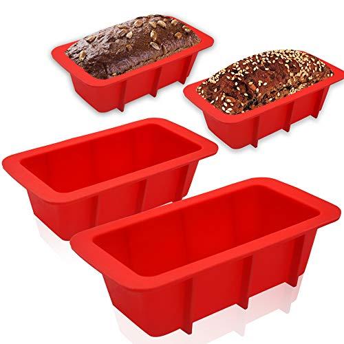 Walfos Mini Moldes de Silicona para Hornear Pan, Mini Moldes de Pan Rectangular, Moldes no pegajosos para tortas y Pan caseros, sin BPA, Juego de 4