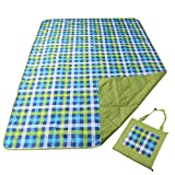 REDCAMP Outdoor Picnic Blanket Washable Waterproof and Sandproof, 79'x59' Large Foldable Lawn Blanket for Grass with Tote Bag, Green and Blue Plaid