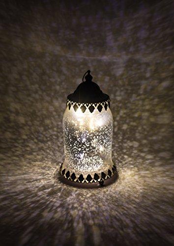 Home&Decorations Lanterne LED Décorative Argentée en Verre – Éclairage Vintage en Forme d'Urne pour Mariage, Anniversaire, Fête, Dîner