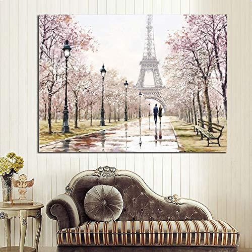 wZUN Pareja de Ciudad romántica París Torre Eiffel Paisaje Pintura al óleo Abstracta Cartel Impreso en Lienzo Cuadro de Pared de la Sala de Estar 60x80 Sin Marco