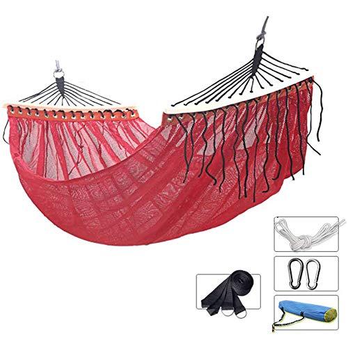 LIMQ Hangmat De draagbaar, afmetingen 200 × 150 cm ademend anti-rollover ijszijde draagvermogen 200 kg voor camping reizen binnen wandelen trekking tuin terras strand, rood