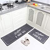 Carvapet 2 Pieces Non-Slip Kitchen Mat Set Rubber Backing Doormat Runner Rug Set, Coffee Design (Grey 15'x47'+15'x23')