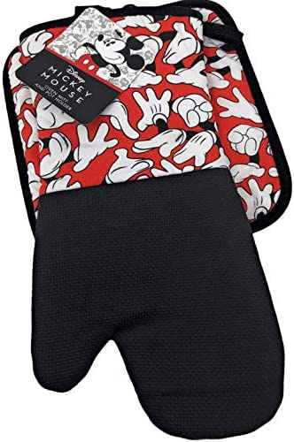 Best Brands Mickey Mouse Mickey Gloves Pattern 2 Piece Kitchen Set Oven Mitt and Pot Holder product image