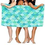 zhengshaolongG Toalla de baño Absorbent Bath Towel Green Mermaid Scales Beach Towels Ultra Shower Towel Microfiber Pool Towel Picnic Mat for Men Women Kids 130X80CM