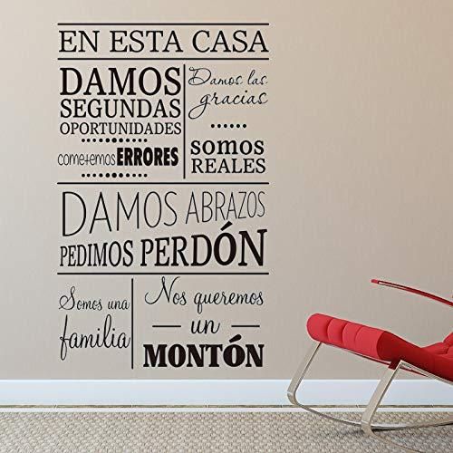 Etiqueta de la pared Regla de la familia Español Etiqueta de La Pared Carácter Arte Casa Decoración Vinilo Inicio Reglas Palabras Calcomanías Extraíble Decoración de la habitación
