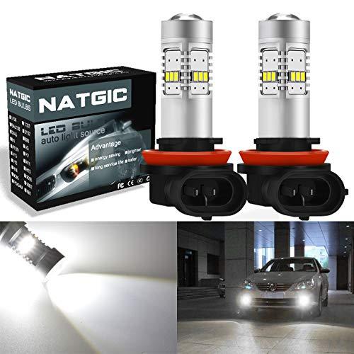 NGCAT Lot de 2 ampoules LED H11, 1800 lumens, 14 SMD, 3020 CREE. Ampoules LED H8 H9 pour feux de voitures - 10–16 V, couleur xénon blanc