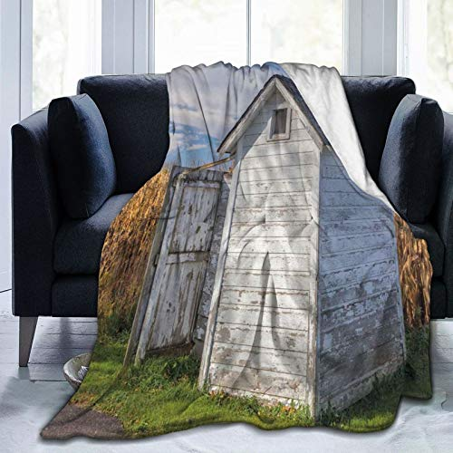 Manta mullida, camarera con imagen de trigo y hierba bajo el cielo, ultra suave, manta para dormitorio, cama de TV, manta de cama de 80 x 60 pulgadas