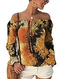 Gocgt Damen Shirts Schulterfrei Langarm Batist Tunika Tops Bluse Shirt Gr. US Large, 2