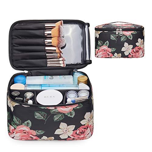 Travel Makeup Bag Large Cosmetic Bag Make up Case Organizer for Women and Girls (Large, Black Peony)