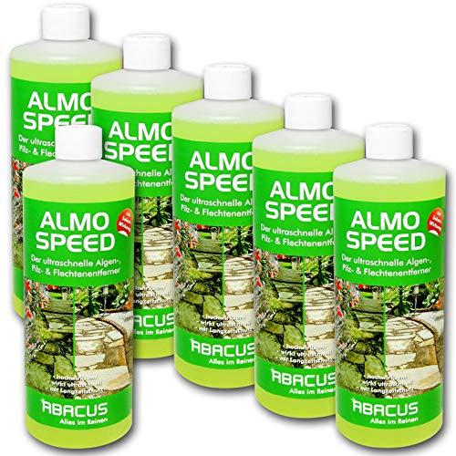 ABACUS ALMO Speed 6X 1000 ml Flechtenentferner Algenentferner Pilzentferner Grünbelagsentferner ohne Glyphosat Unkrautvernichter Denkmalreiniger Grabsteinpflege Algen Flechten Algenex