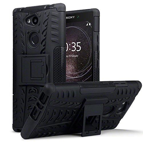 TERRAPIN, Kompatibel mit Sony Xperia L2 Hülle, TPU + PC Schutzhülle mit Standfunktion Tasche - Schwarz
