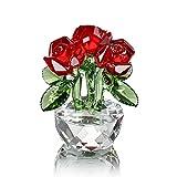 H&D cristal rouge Rose Bouquet fleurs Figurines ornement avec boîte-cadeau
