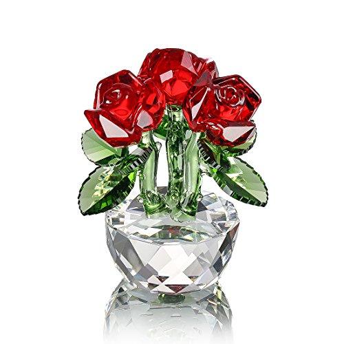 H&D Rot Kristall Rose Bouquet Blumen Figuren Ornament mit Geschenk Box