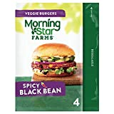 MorningStar Farms Veggie Burgers, Plant Based Protein, Frozen Meal, Spicy Black Bean, 9.5oz Bag (4 Burgers)