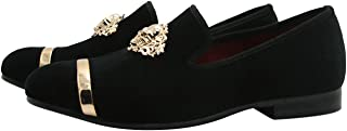 Mocassin Homme Suède Loafers Slip-on Métalliques Texturés Casual Flats Chaussures Glitter Noir Volet Bleu