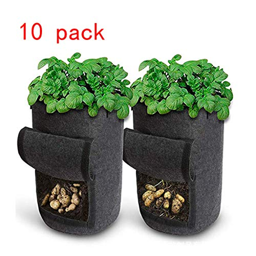 10 Pack Potato Grow Bags 10 Gallon Garden Vegetables Planter Bags, Non-Woven Beluchting Fabric Pot Growing Bags Met Handvat En Toegangsklep Voor Het Planten Taro Radijs Pinda